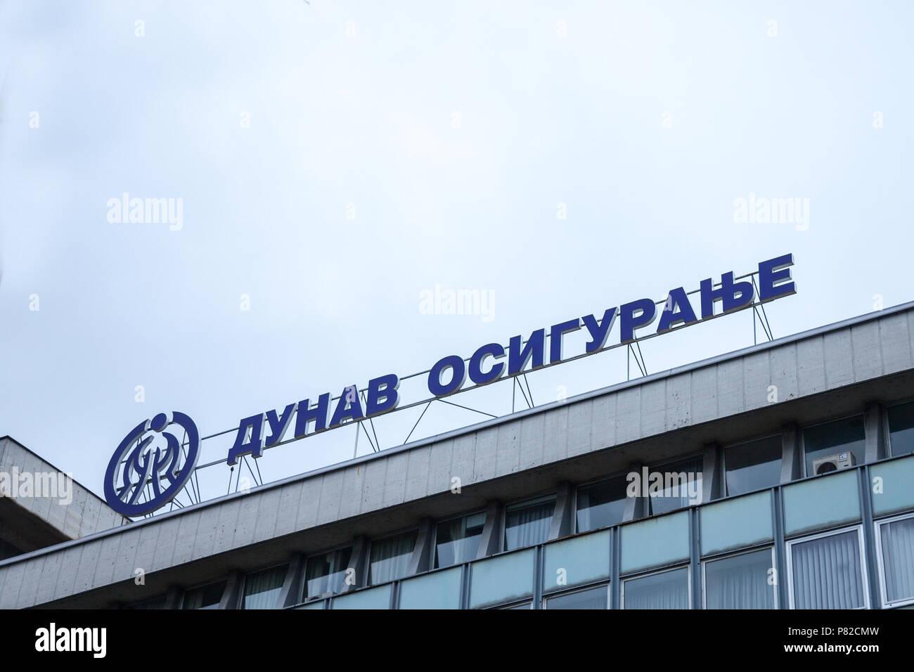 BELGRADE, SERBIA - JULY 7, 2018:  Logo of Dunav Osiguranje on their Belgrade headquarters. Dunav Osiguranje, or Danube insurance, is the main Serbian  - Stock Image