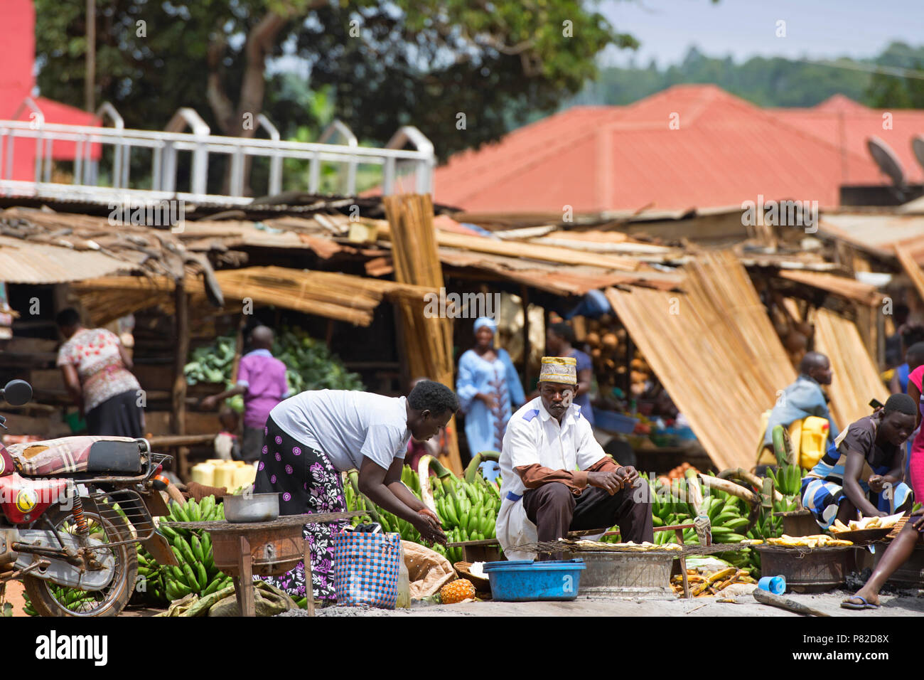 Street Vendors, Selling Matooke Uganda, Roadside Food Market, Fruits And Vegetables Market,  East Africa - Stock Image