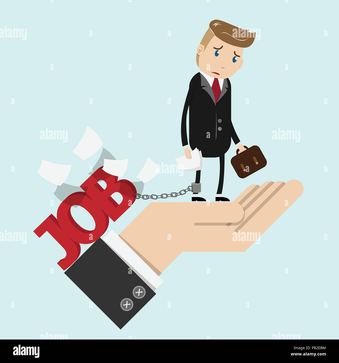 tried businessman in suit work with paperwork in hand , chained to the leg with his job. business man stand on boss hand with sad face. overworking ,  - Stock Vector