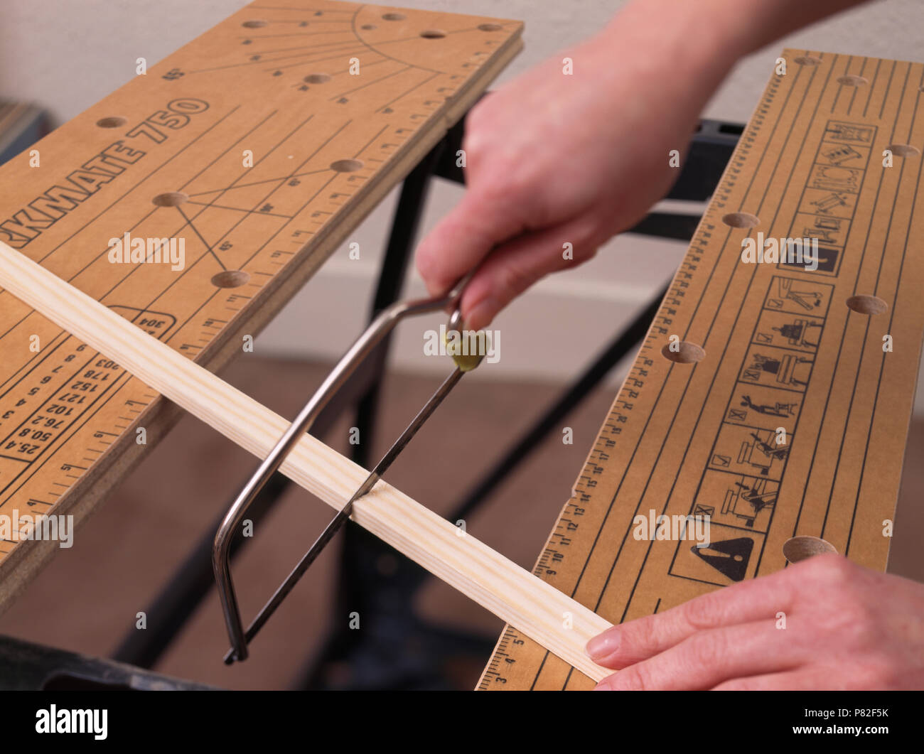 Using saw horse to cut battens to size for diy project - Stock Image