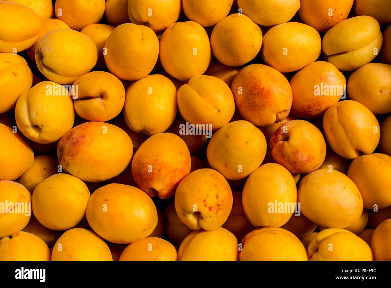 fresh apricot yellow abstract fruit colorful pattern texture background Stock Photo