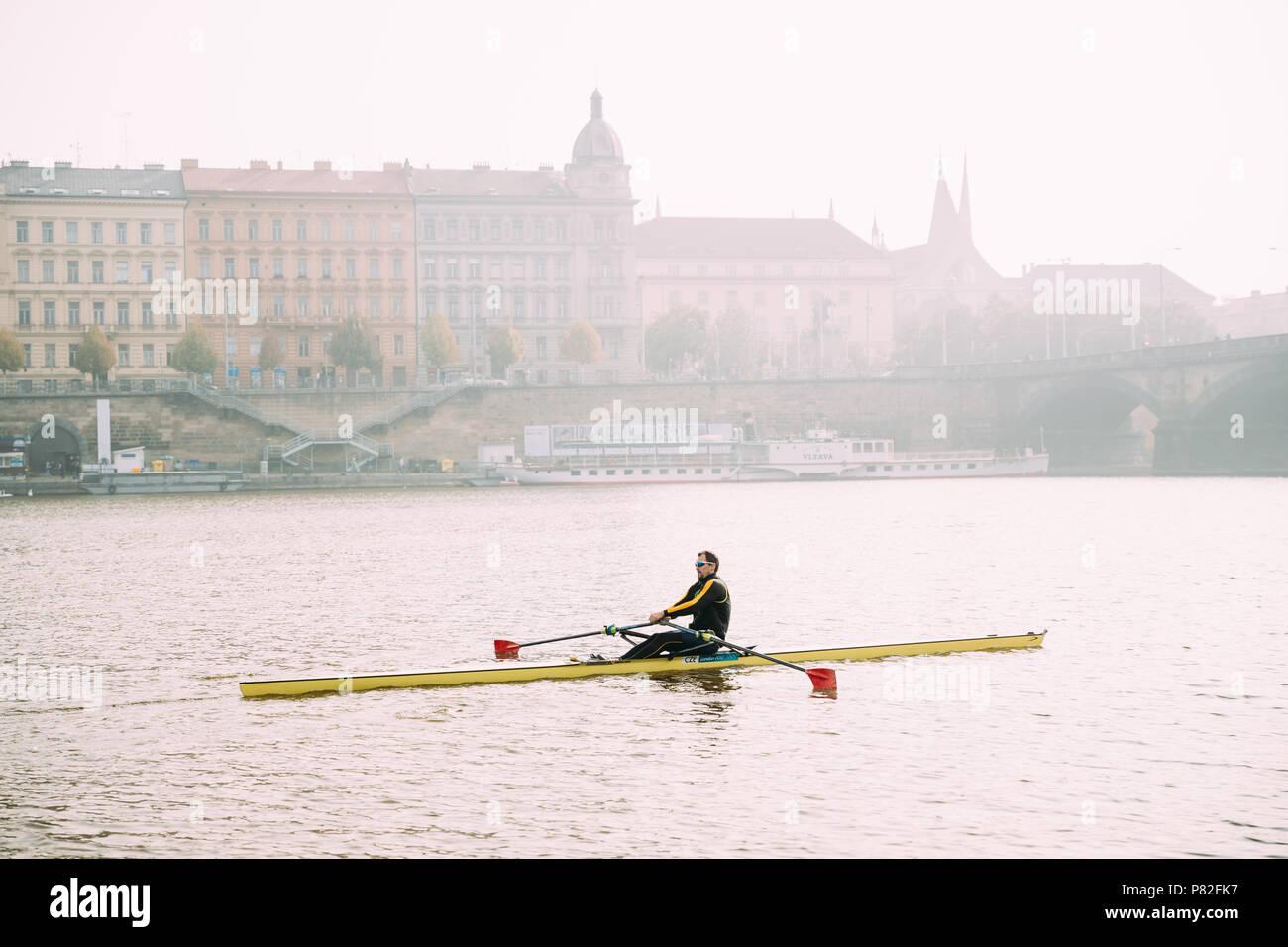 Prague, Czech Republic - September 23, 2017: Man Training On Kayak In Vltava River. - Stock Image