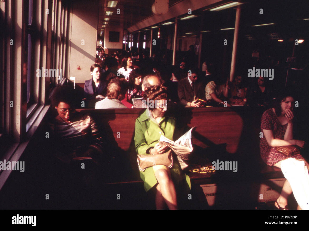 Interlude for Relaxation on the Staten Island Ferry May 1973 - Stock Image