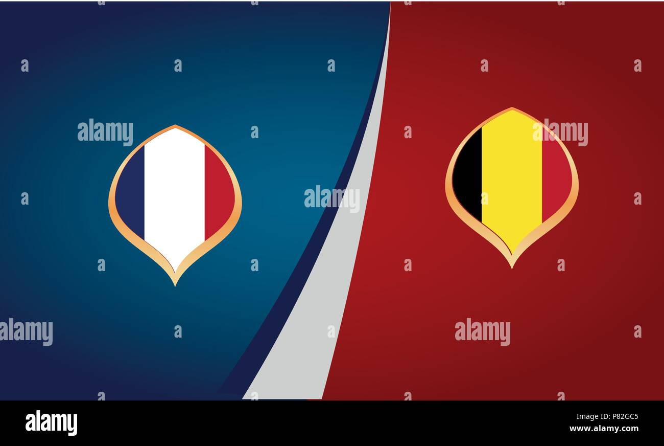 Teams of France and Belgium, flags, banner vector - Stock Vector