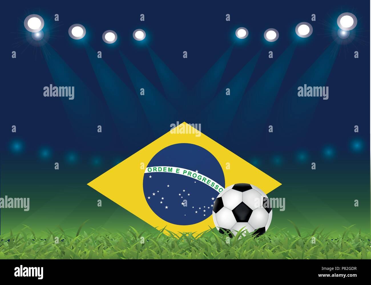 Brazilian football, vector illustration, ball and Brazilian flag at the football stadium - Stock Vector