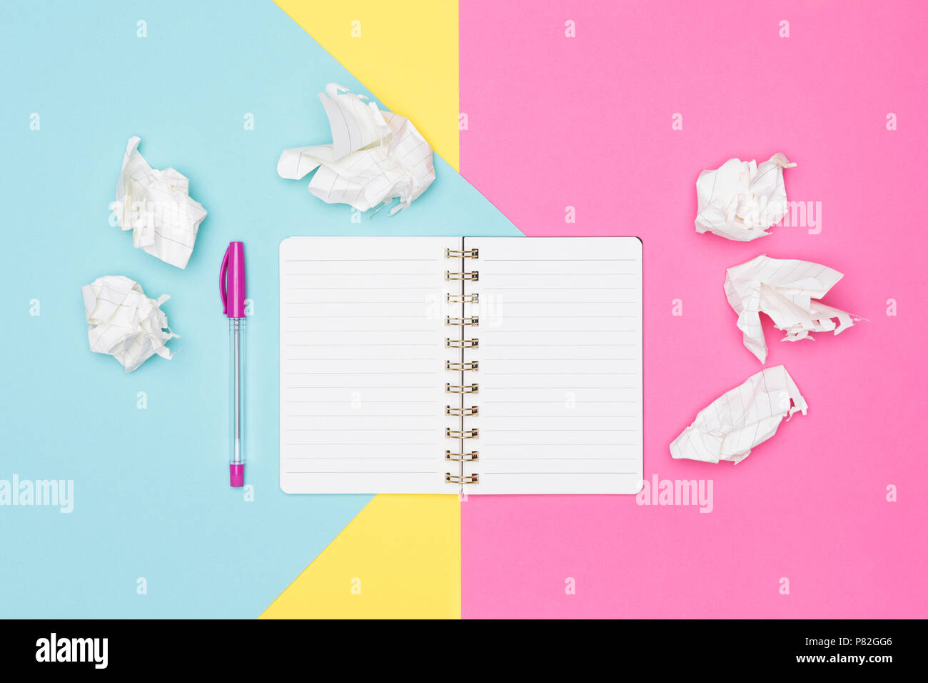 Writer's block. Ideas, brainstorming, creativity, imagination, deadline, frustration concept. Top view photo of office desk. - Stock Image