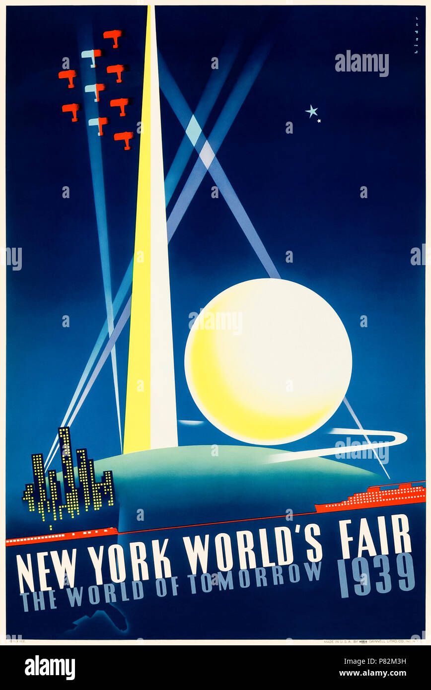 'New York World's Fair 1939' poster by Joseph Binder (1898-1972) showing the Trylon and Perisphere, transportation and spotlights and the strapline 'the World of Tomorrow'. See more information below. - Stock Image