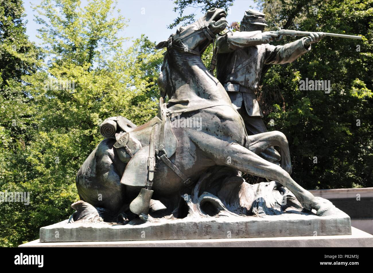 Cavalryman statue on the Wisconsin Monument in the Vicksburg National Military Park, Vicksburg, Mississippi - Stock Image