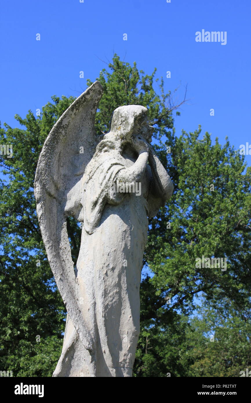 at the Bohemian National Cemetery in Chicago, Illinois on a beautiful summer day. - Stock Image