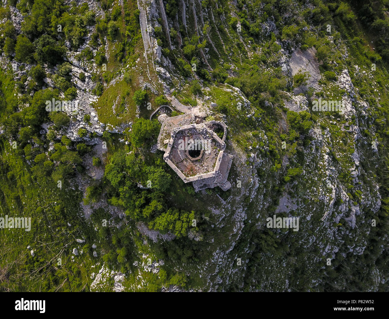Fort Stražnik within the Orjen Mountain is a former fortification of the Austro-Hungarian Empire located in Montenegro. - Stock Image