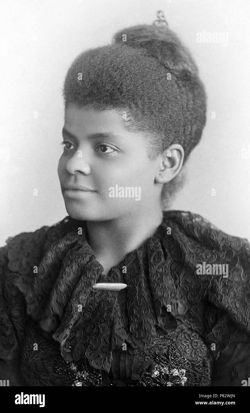 Ida B. Wells (1862-1931) was an African-American woman, born into slavery, who became a leader in the early Civil Rights Movement. As an investigative journalist and speaker, she exposed injustice and the horrors of lynching in the American South during the Reconstruction Era. She was also one of the founders of the NAACP (National Association for the Advancement of Colored People).  (Photo c1893) - Stock Image