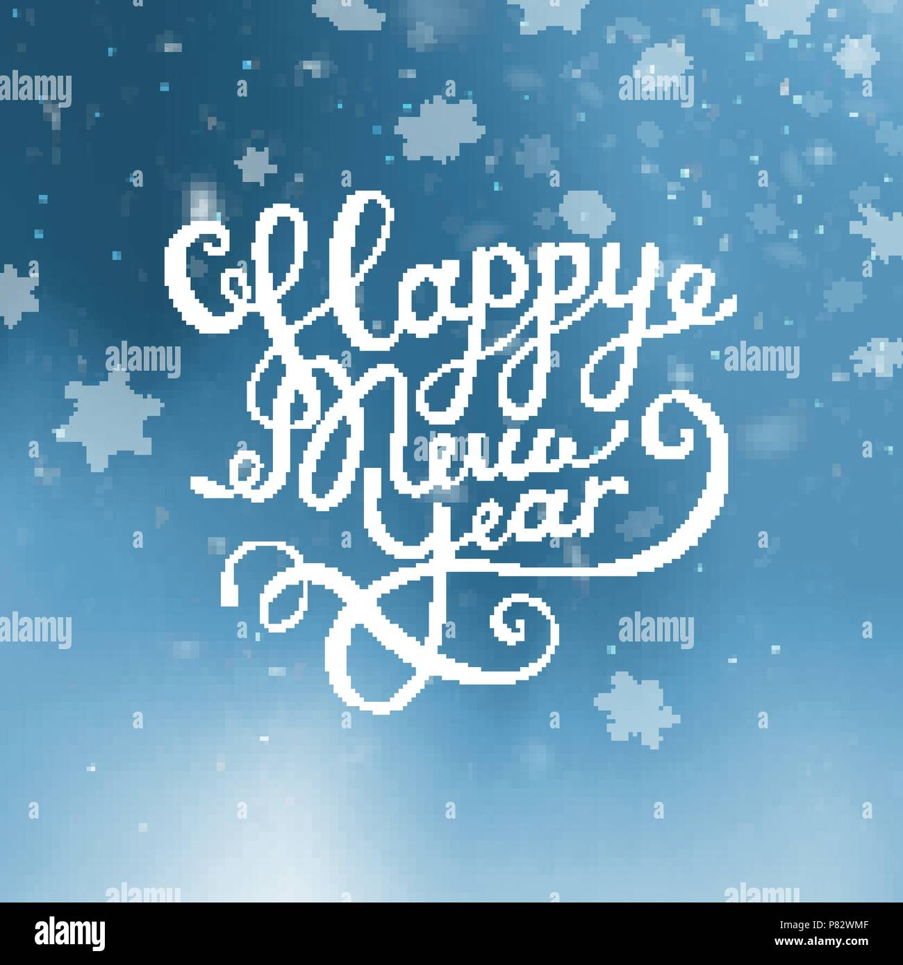 vector illustration christmas and happy new year blurred blue background falling snow wallpaper 2019 2018 lettering greeting card falling snow