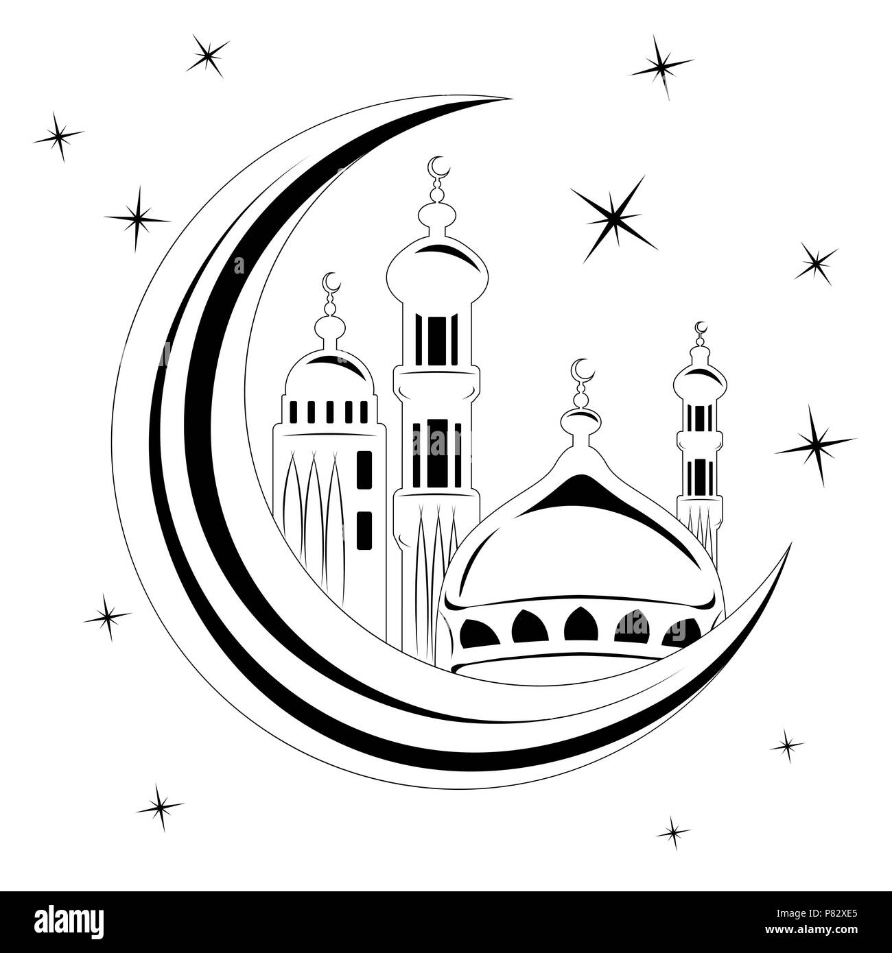 mosque vector ,mosque Icon. mosque Icon Vector. Ramadan Icon Art - stock vector. mosque in moon, month  white - Stock Image