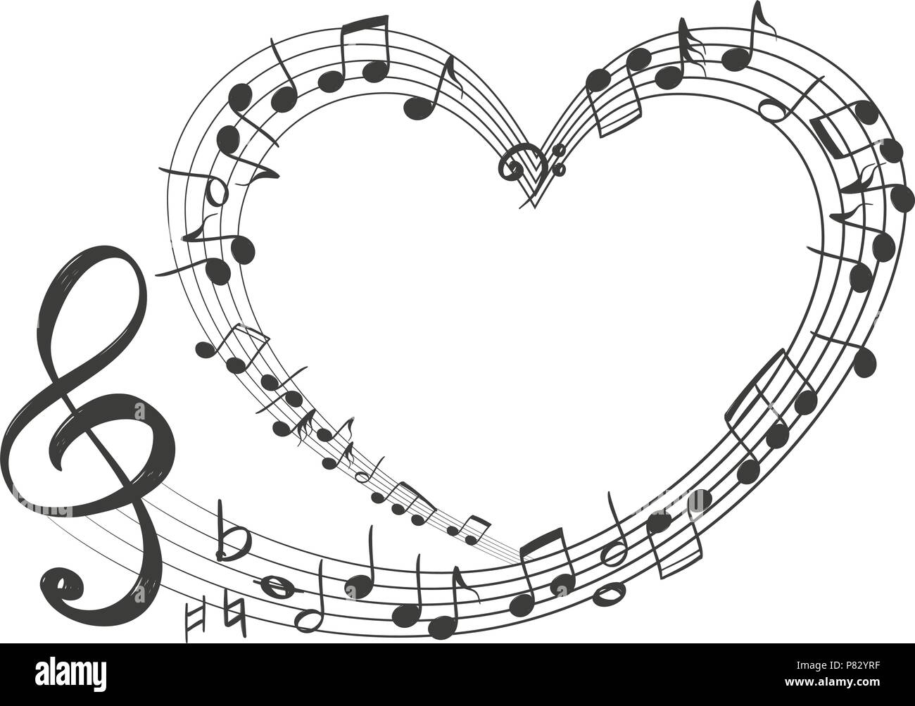 Musical notes in the form of a heart icon love music hand drawn musical notes in the form of a heart icon love music hand drawn vector illustration sketch ccuart Image collections