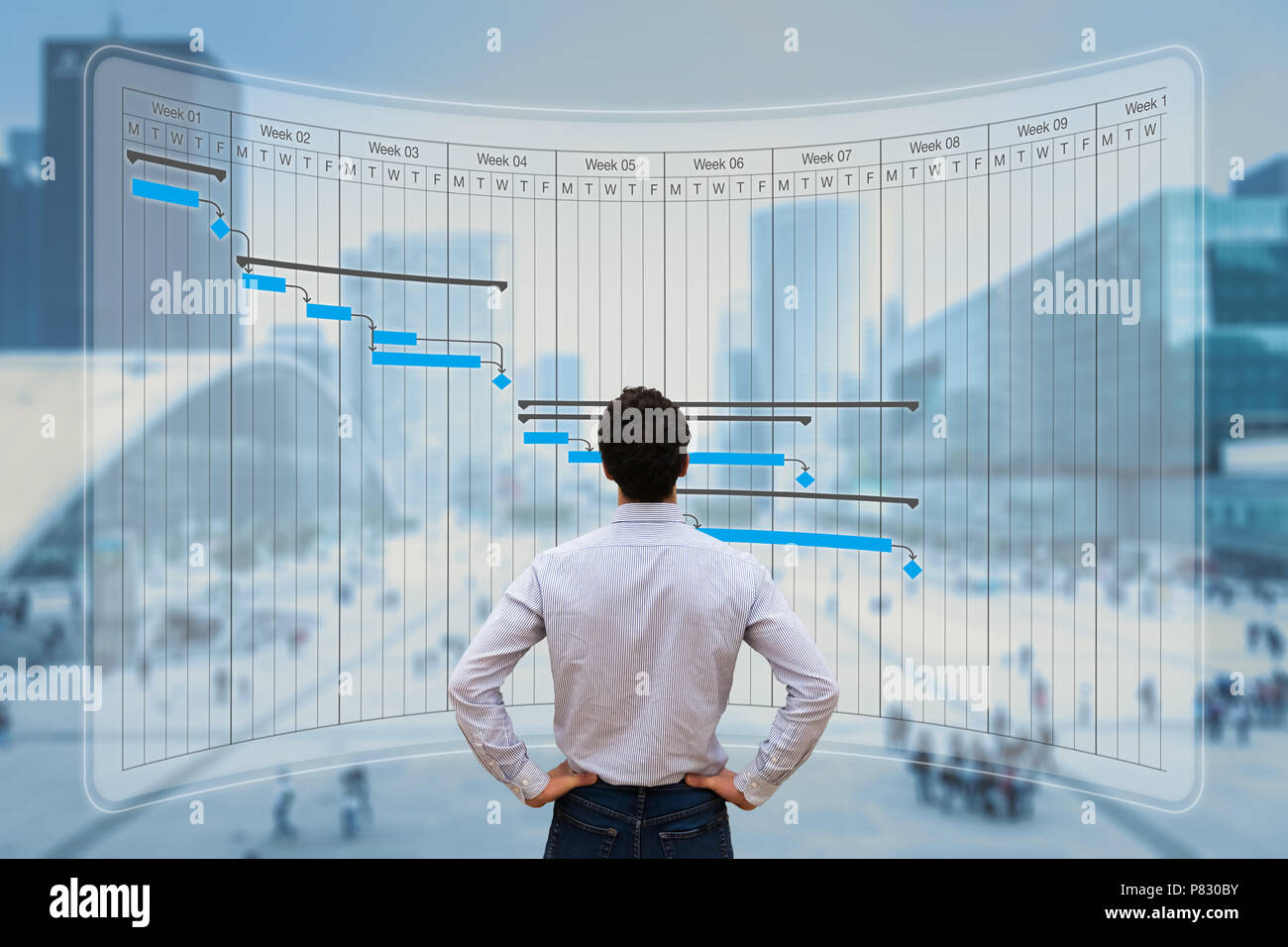 Project manager working with Gantt chart planning, tracking milestone and deliverables and updating tasks progress, scheduling skills, on virtual scre - Stock Image