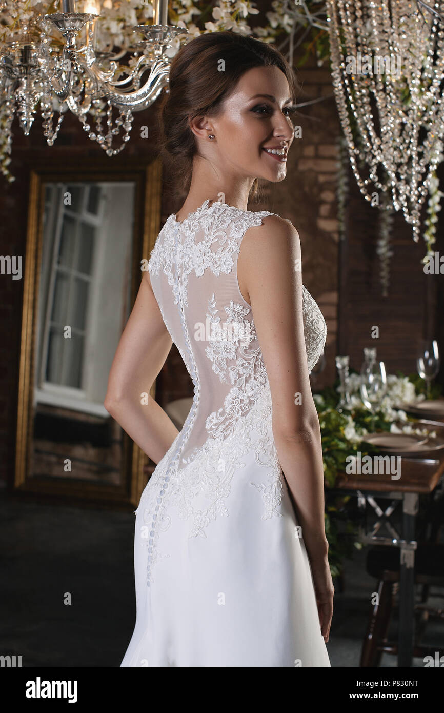 Portrait Of A Beautiful Bride Lace Dress Wedding Hairstyle And