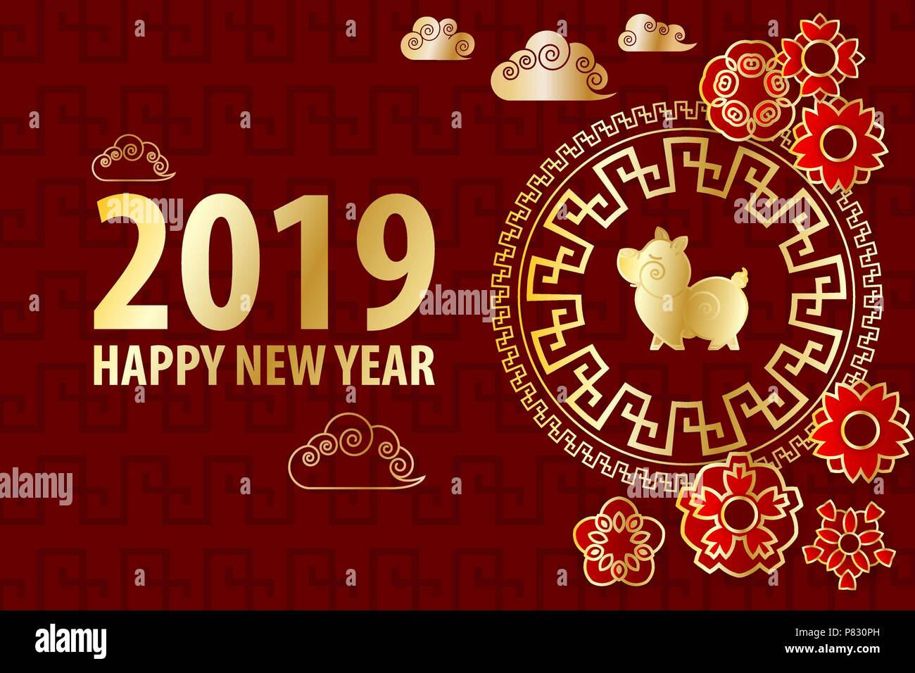 2019 chinese new year yellow pig golden asian frame red holiday pattern traditional holiday festival zodiac background paper cut flower and clouds