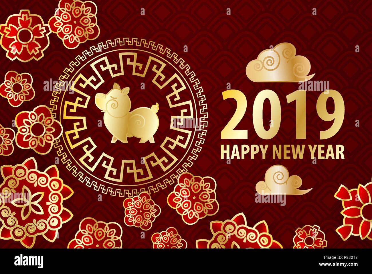 2019 Chinese New Year Yellow Pig Golden Asian Frame Red Holiday
