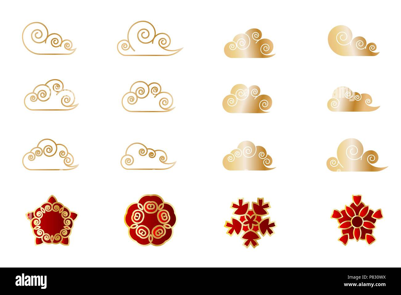 Asian china japan cloud shape flower set. Red stylised sakura bud geometric golden leaf. Traditional paper cut Eastern new year decor. Vector isolated - Stock Image
