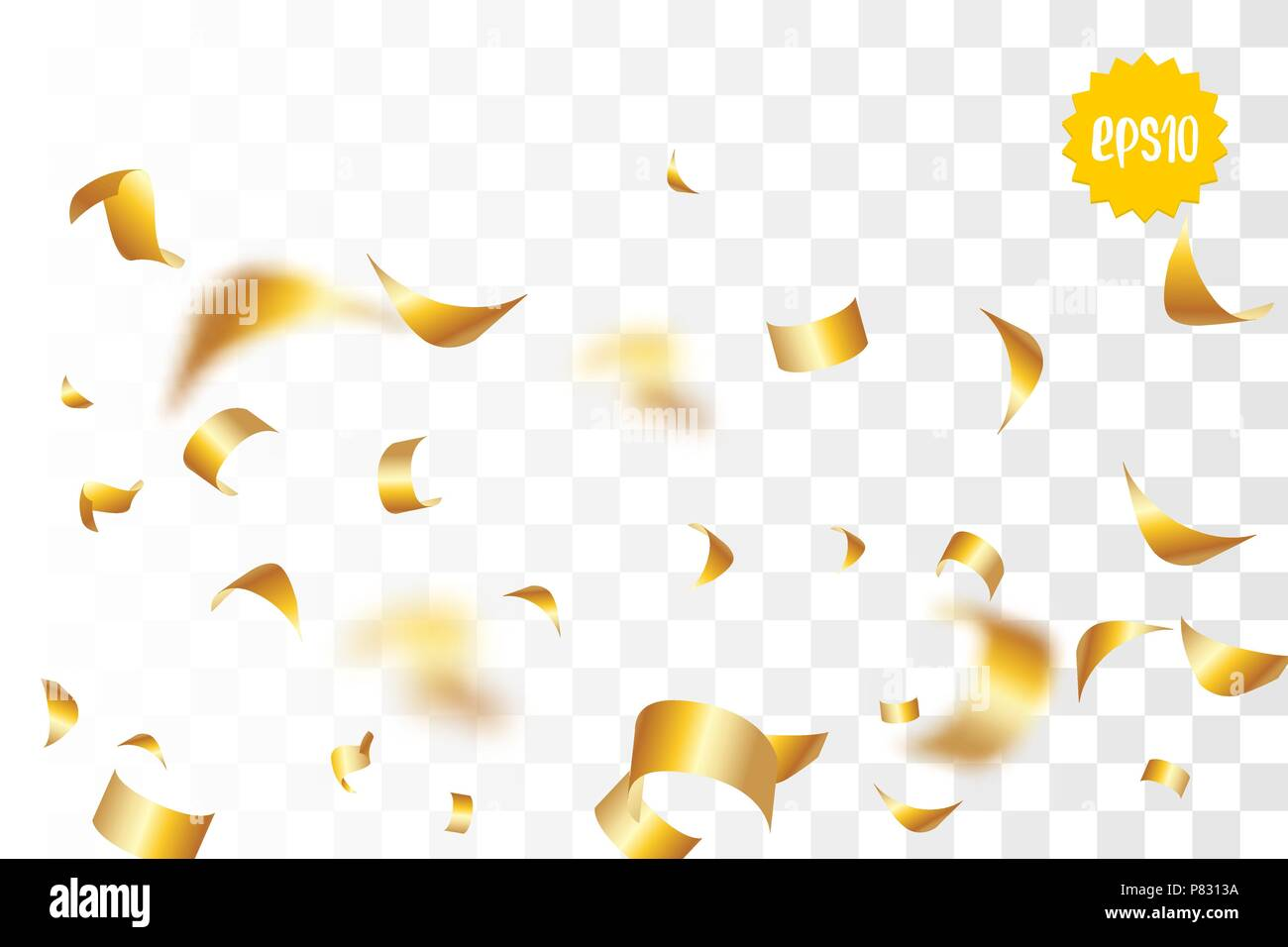 random falling golden glitter transparent sparkle background christmas banner new year greeting invitation postcard shimmer vector illustration