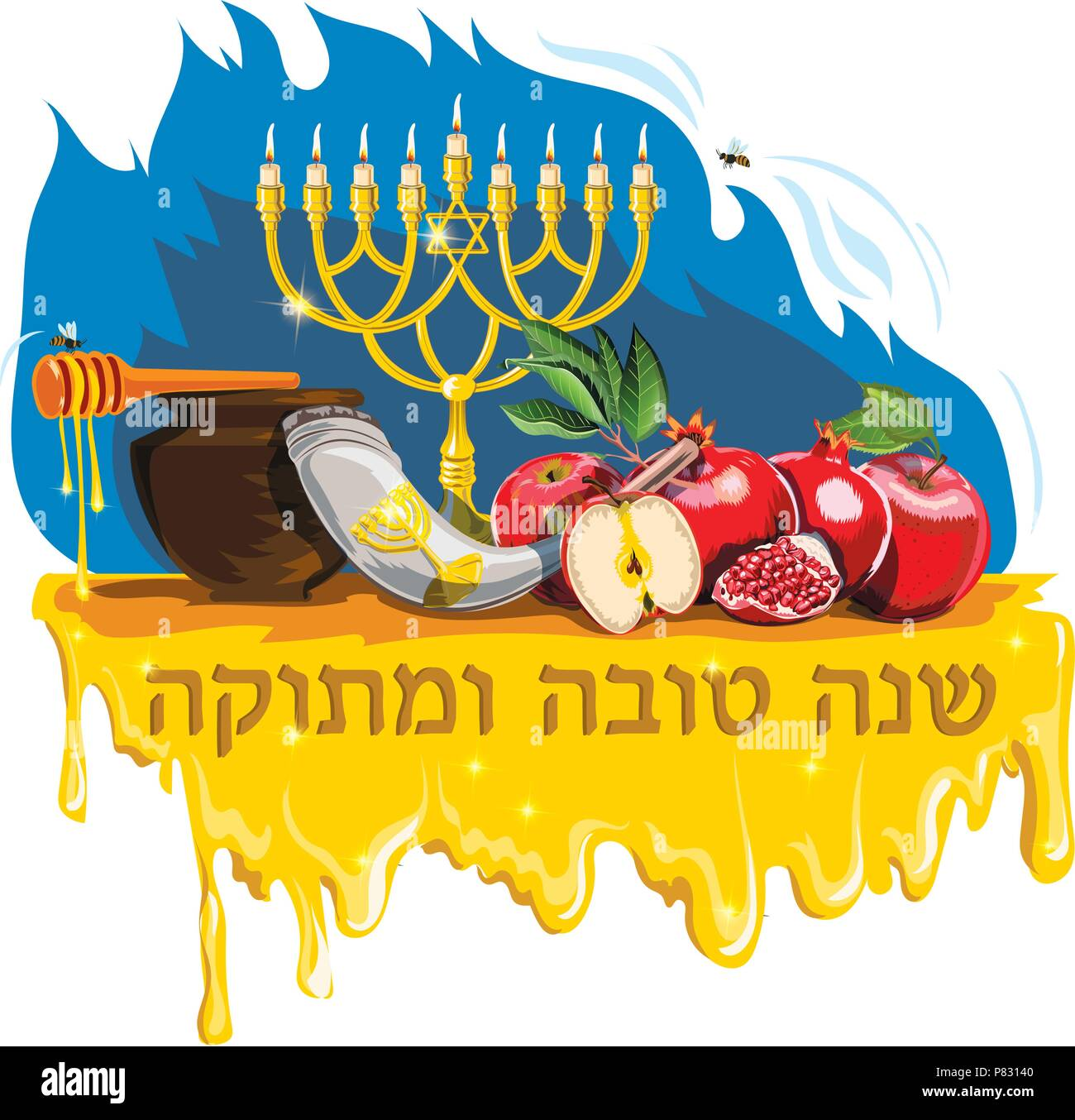 Rosh hashanah card stock photos rosh hashanah card stock images vector collection of labels and elements for jewish new year hebrew text english translation m4hsunfo