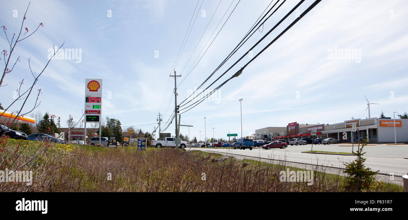 May 12, 2018- Porters Lake, Nova Scotia: The main drag, route 7, goes through the central area of Porters Lake with stores and gas stations - Stock Image