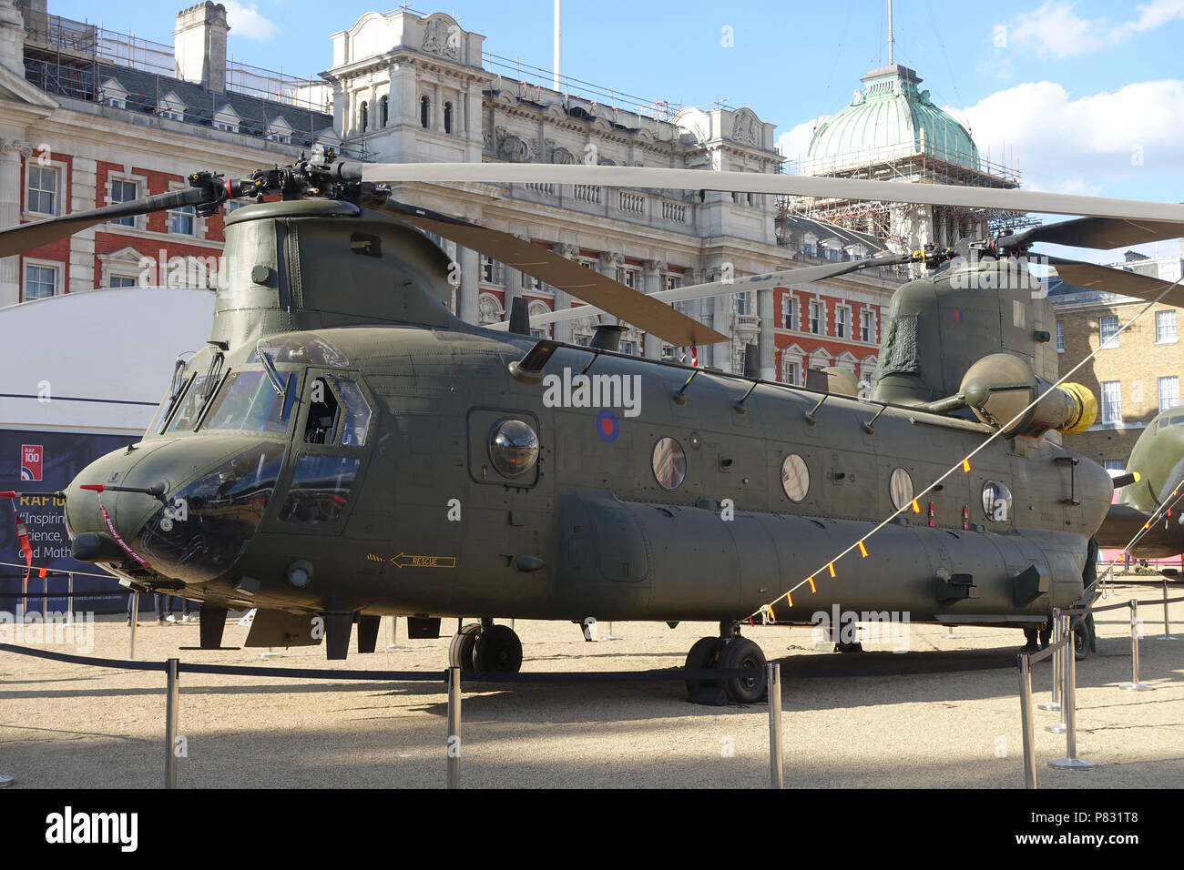 Front view of a Chinook twin-rotor helicopter at the RAF100 Aircraft Tour at Horse Guards London in July 2018 - Stock Image