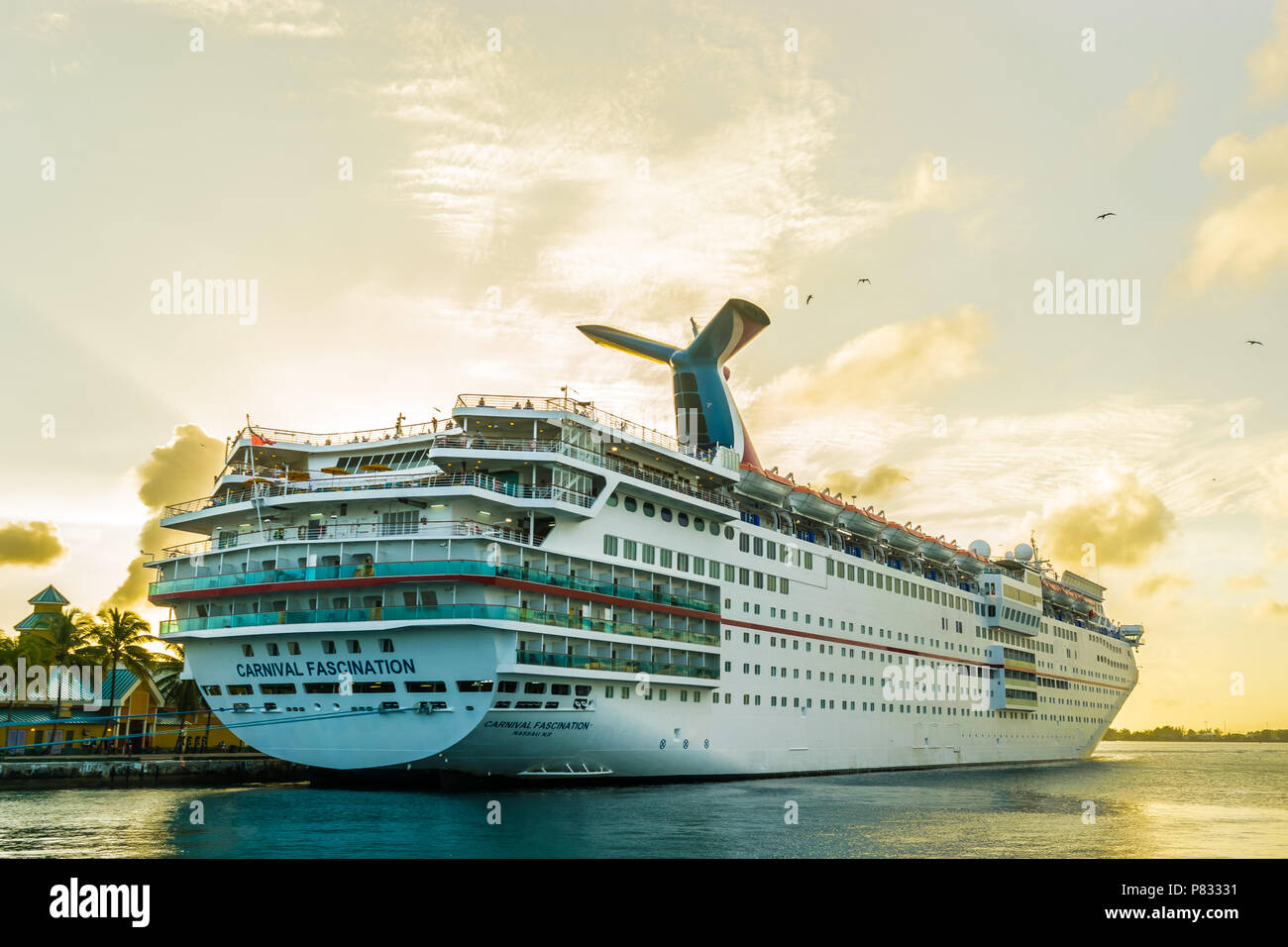Nassau, Bahamas - December 02 2015: Carnival Fascination Cruise Ship docked in Nassau Cruise Port. - Stock Image
