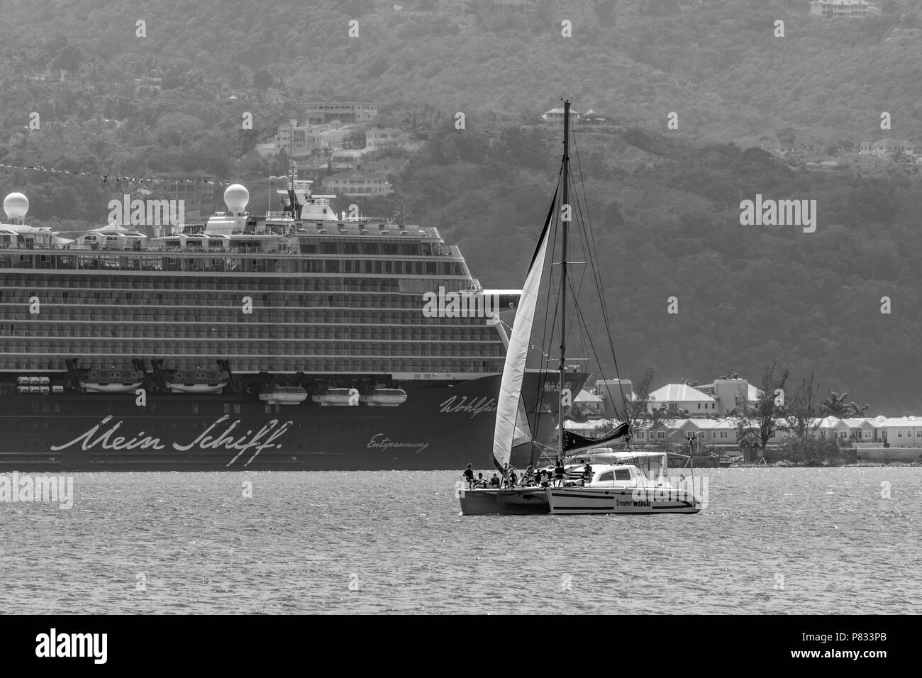 Montego Bay, Jamaica - March 19 2018: Mein Schiff Cruise Ship docked in Montego Bay, Jamaica - Stock Image