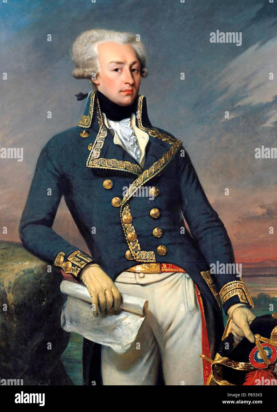 Portrait of Gilbert Motier the Marquis De La Fayette as a Lieutenant General, 1791 - Joseph-Desire Court, 1834 - Stock Image