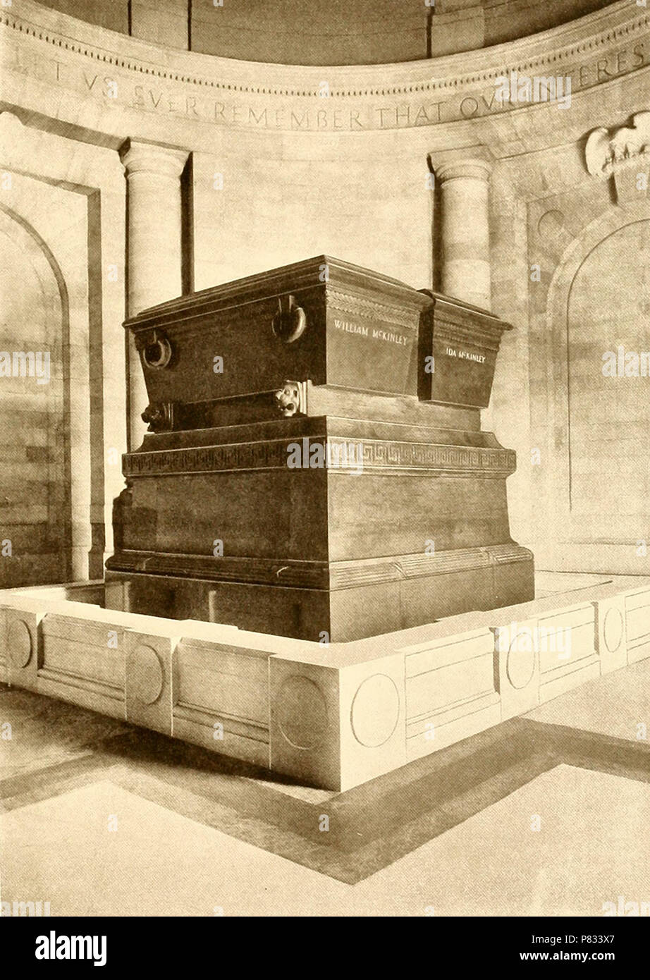 Interior of the Mausoleum - The Sarcophagi. President William McKinley Memorial at the time of it's dedication, October 1907. Canton, Ohio - Stock Image