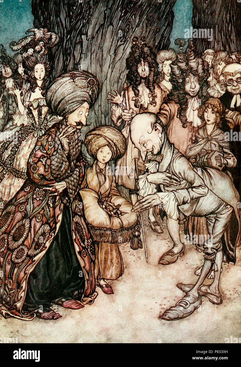 'My Lord Duke,' said the physician elatedly, 'I have the honor to inform your excellency that your grace is in love' - Scene from Peter Pan - Stock Image