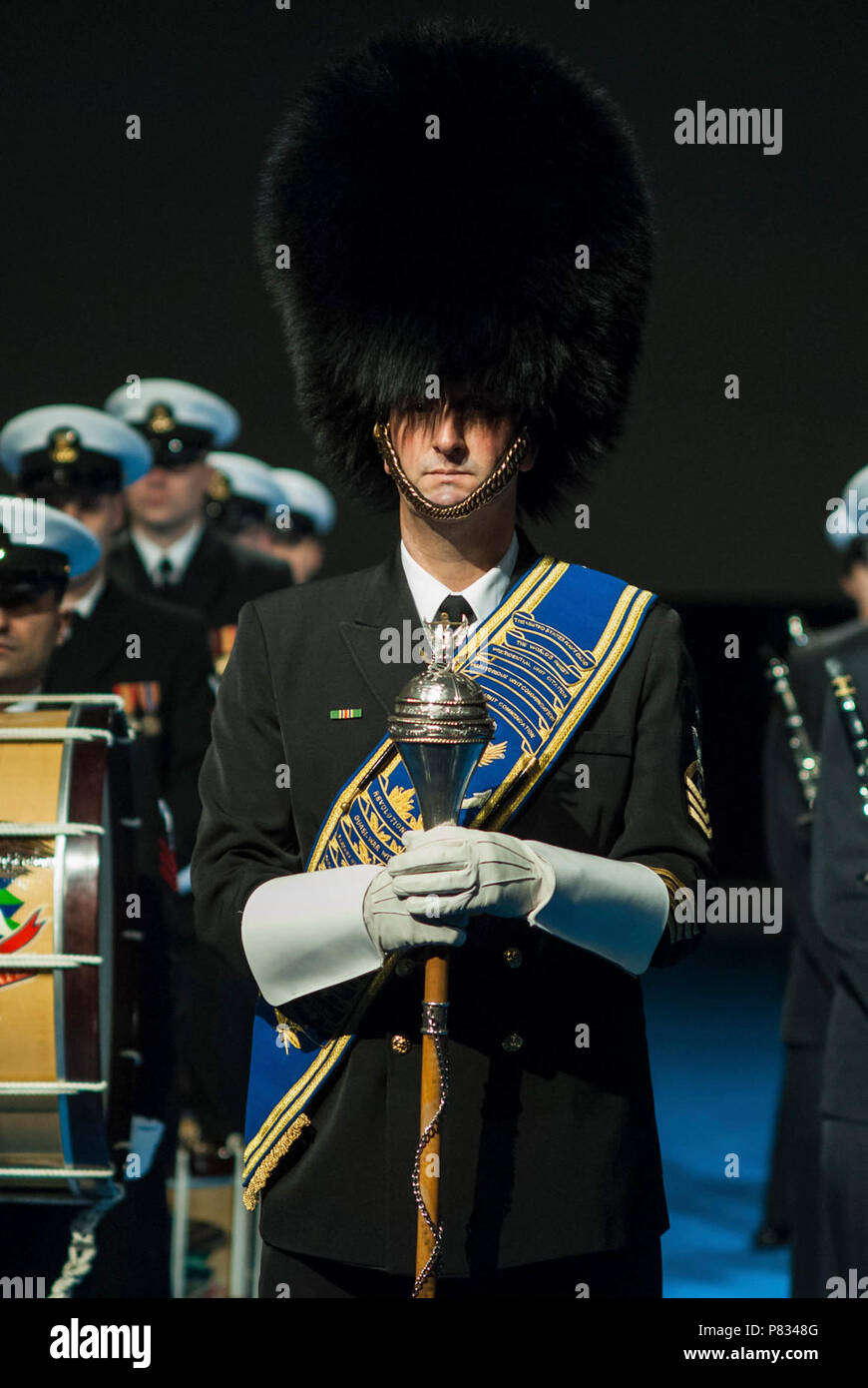 ARLINGTON, Va. (Feb. 6, 2017) Senior Chief Musician Mike Bayes, drum major of the United States Navy Ceremonial Band, prepares to lead the band at the arrival of the French Chief of Defense Staff, General Pierre de Villiers.  The Ceremonial Band has two roles in a high-level ceremony of this nature: display the pride and heritage of today's Navy and pay respect to France for its continued partnership. Stock Photo