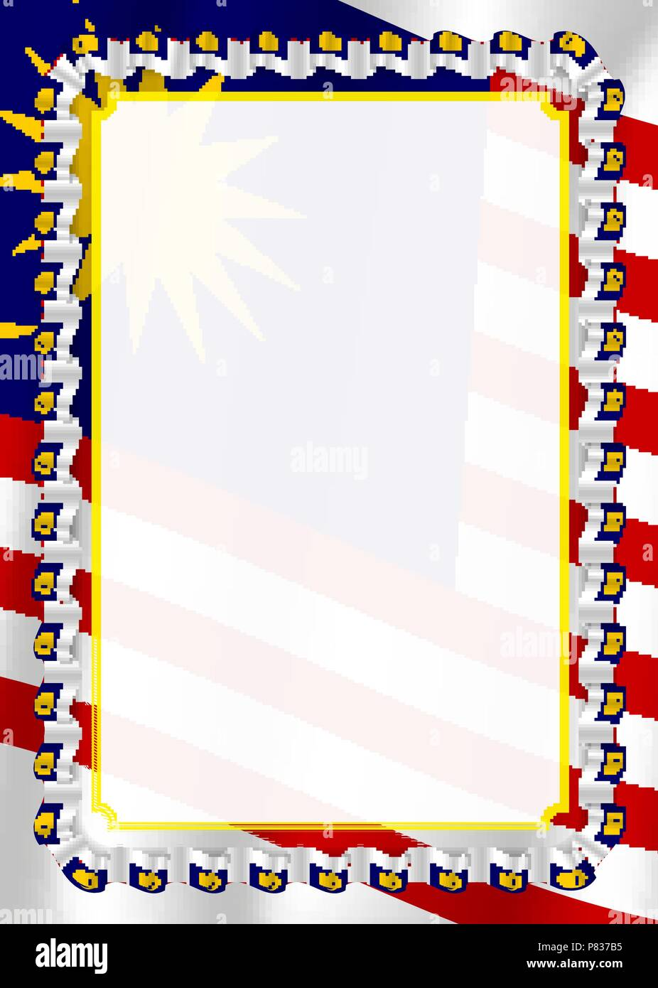 Frame and border of ribbon with Malaysia flag, template ...
