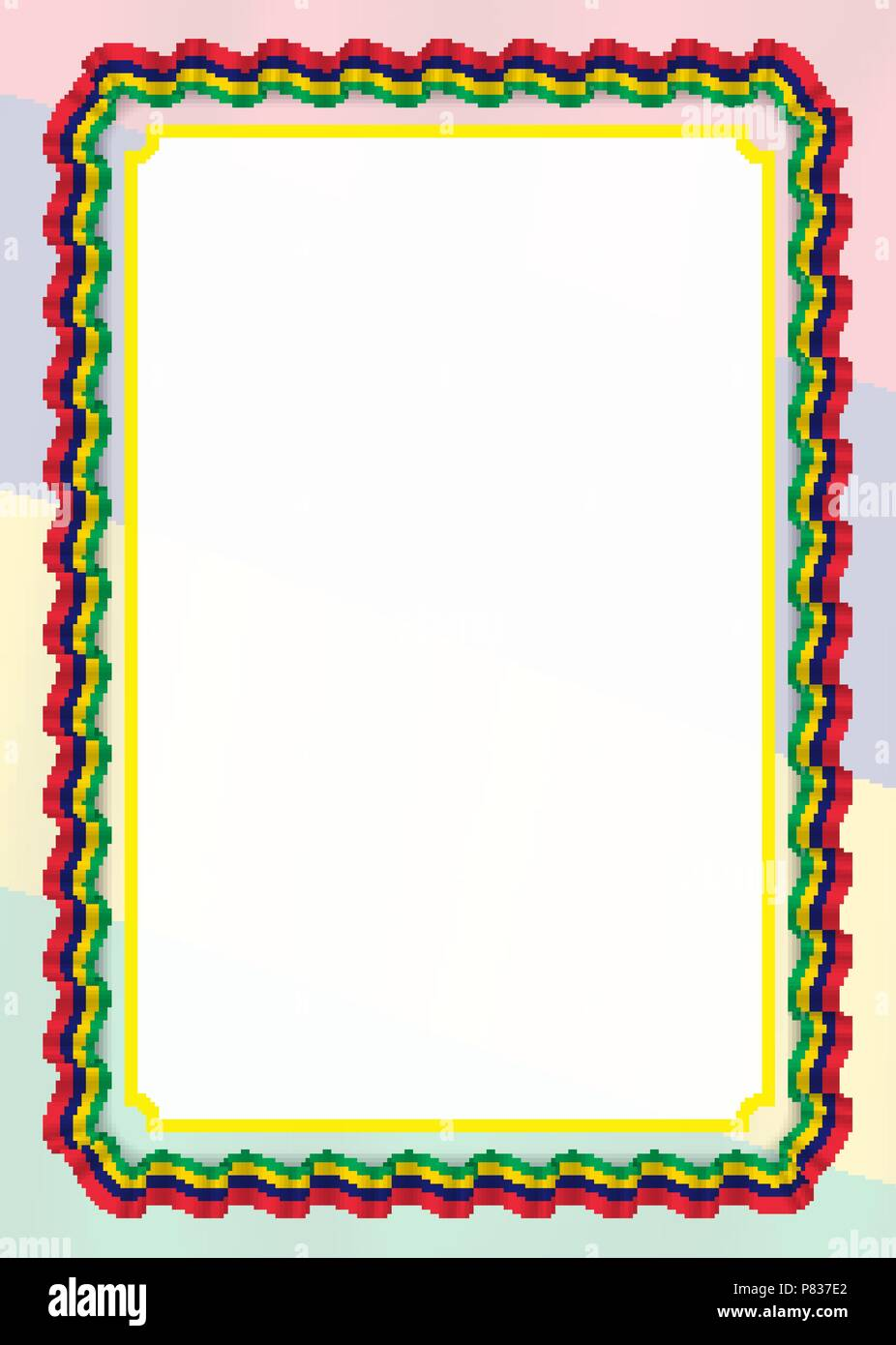 frame and border of ribbon with mauritius flag template elements