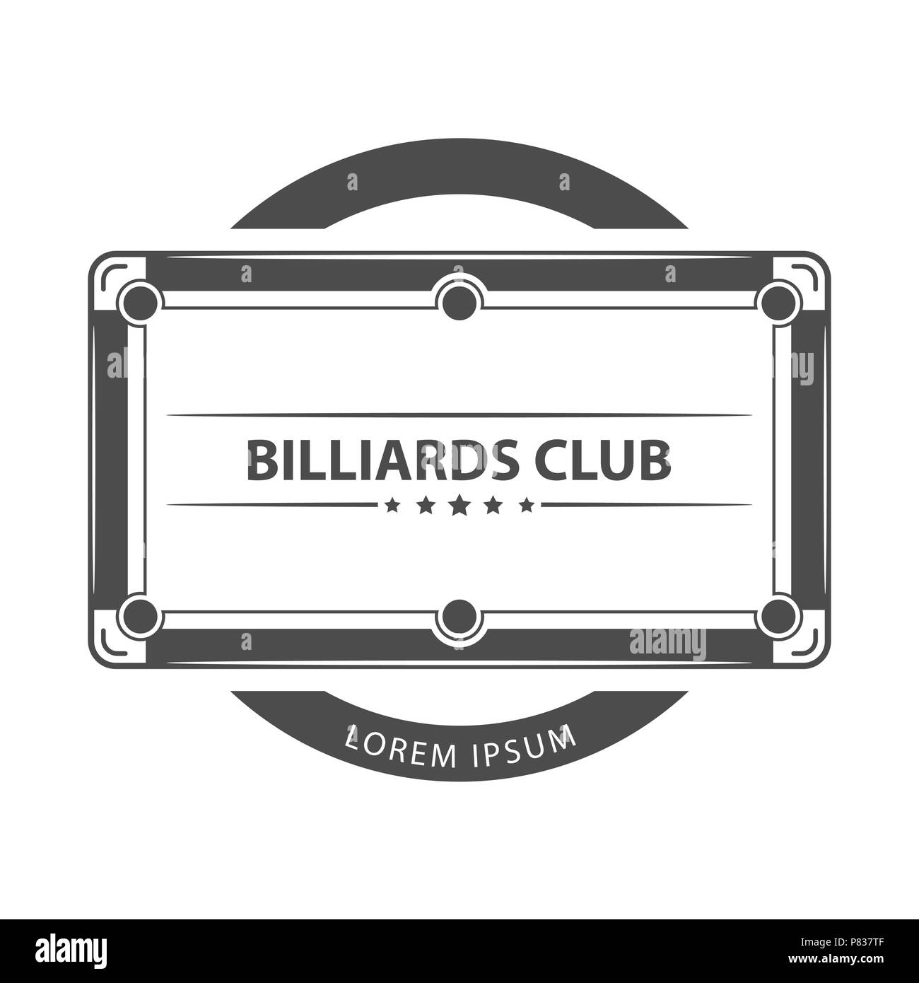 Billiard, game with text logo. - Stock Vector