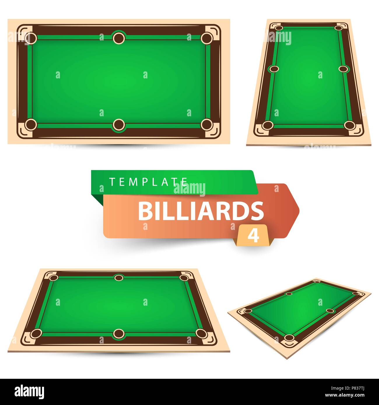 Billiard game template. Four items. - Stock Image