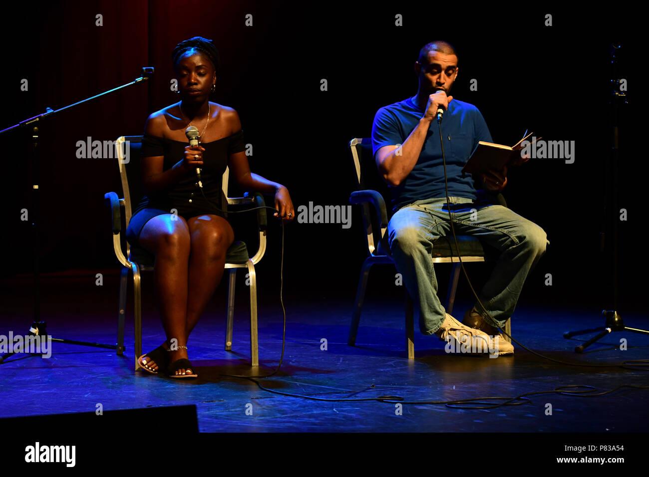 London, UK. 8th July 2018. Lowkey musician preforms at the Just Say No - Artists Against Trump & War host by Stop the War Coalition, Trump is not welcome in the UK at The Shaw Theatre on 8th July 2018. Credit: Picture Capital/Alamy Live News - Stock Image
