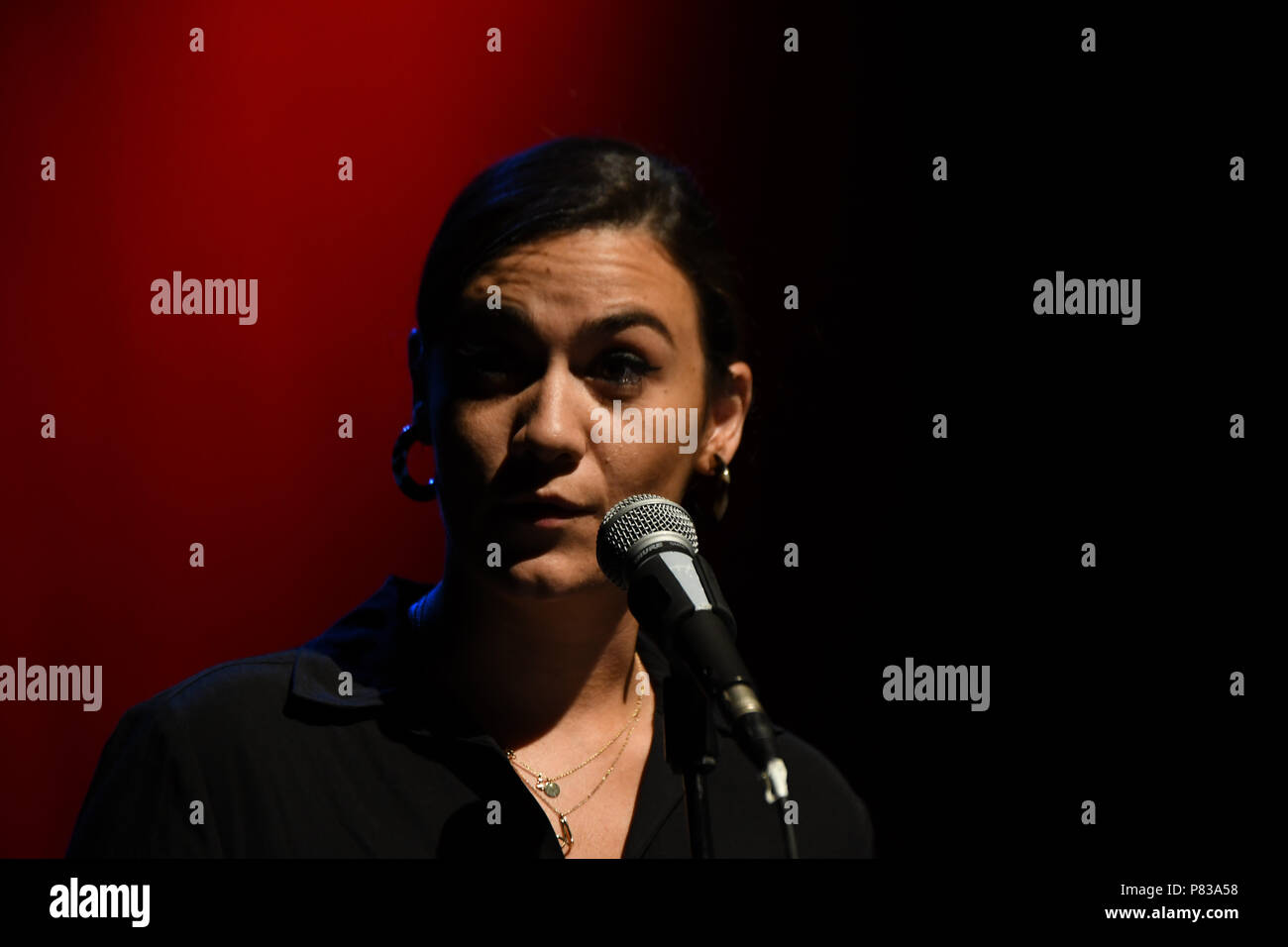 London, UK. 8th July 2018. Nadine Shah is a musician and mental health campaigner preforms at the Just Say No - Artists Against Trump & War host by Stop the War Coalition, Trump is not welcome in the UK at The Shaw Theatre on 8th July 2018. Credit: Picture Capital/Alamy Live News Stock Photo