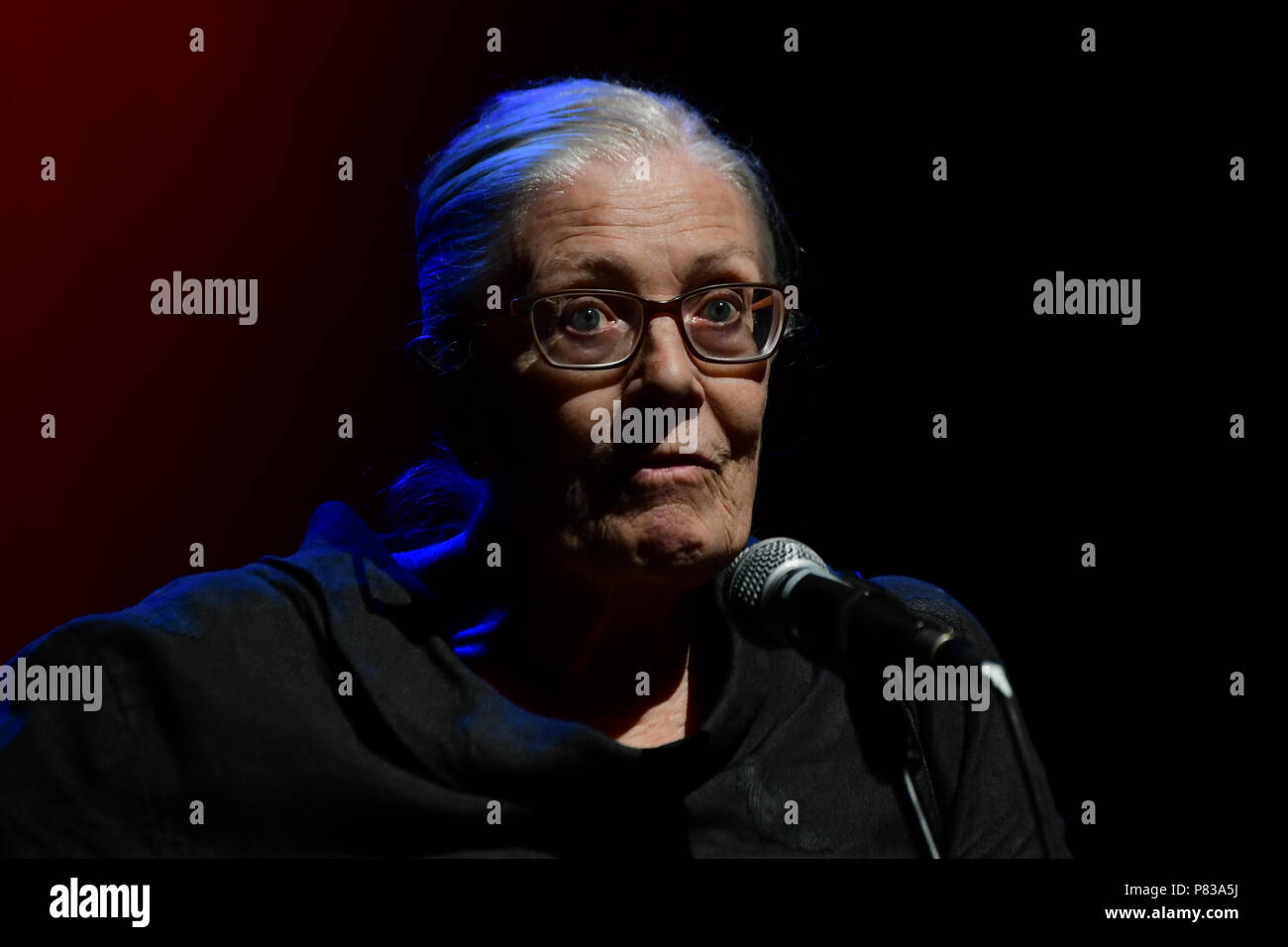 London, UK. 8th July 2018. Speaker Vanessa Redgrave at the Just Say No - Artists Against Trump & War host by Stop the War Coalition, Trump is not welcome in the UK at The Shaw Theatre on 8th July 2018. Credit: Picture Capital/Alamy Live News - Stock Image