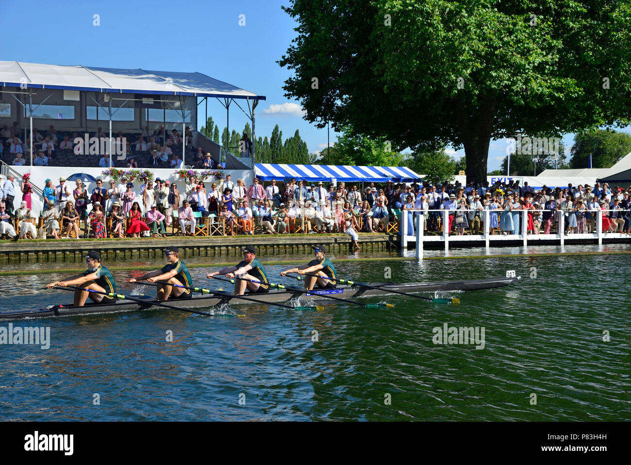 On finals day of the Fawley Challenge Cup at Henley Royal Regatta The Windsor Boy's School raced against Maidenhead Rowing Club and never looked likely to lose.  They won and their time of 6.27 smashed the course record by seven seconds. Credit Wendy Johnson/Alamy Live News - Stock Image