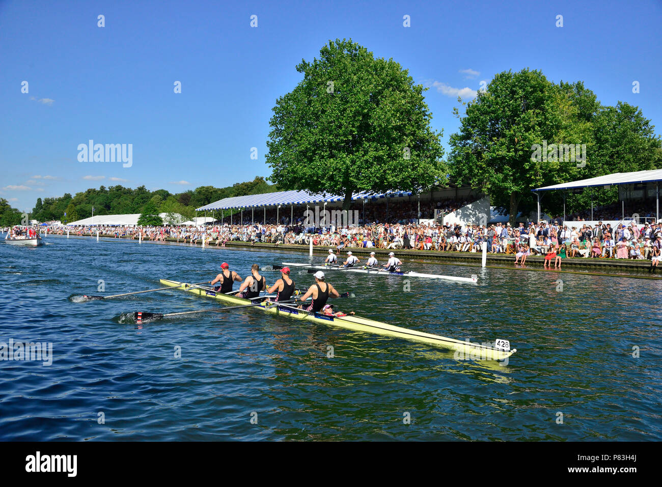 At Henley Royal Regatta Thames Rowing Club  'A' took on Molesey Boat Club 'A' for the final of the Britannia Challenge Cup.  Molesey pushed Thames all the way to the finish with Thames never pulling more than one length ahead.  Thames equalled both the Barrier and Fawley records as well as breaking the course record by one second. Credit Wendy Johnson/Alamy Live News - Stock Image
