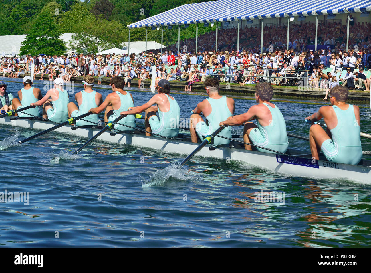Henley-on-Thames, UK. 8th July, 2018. The final day of racing for the Princess Elizabeth Challenge Cup at Henley Royal Regatta. St. Paul's School beat Eton College. (near side )The crew equalled the Barrier record, beat their own Fawley record and then destroyed the course record by 11 seconds to win in a time of 6.06. - Stock Image