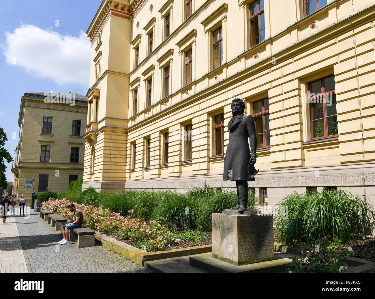 26 June 2018,Germany, Gera: The monument for Pushkin in the Schloss street next to the courthouse in the city centre. Alexander Sergeyevich Pushkin is known as Russian national poet and founder of the modern Russian literature. Photo: Jens Kalaene/dpa-Zentralbild/dpa - Stock Image