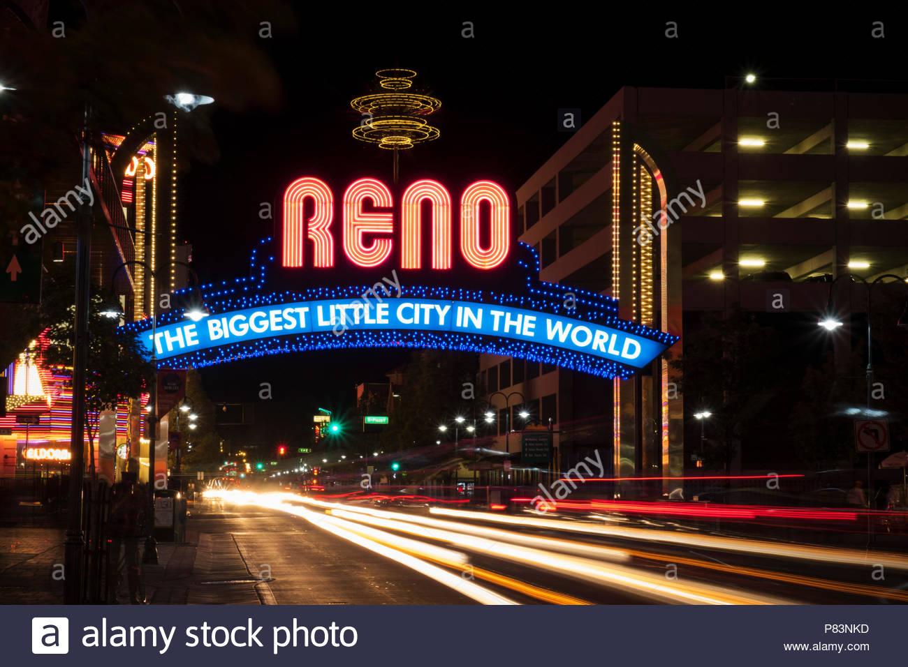 Reno Arch at Night, Reno, Nevada - Stock Image