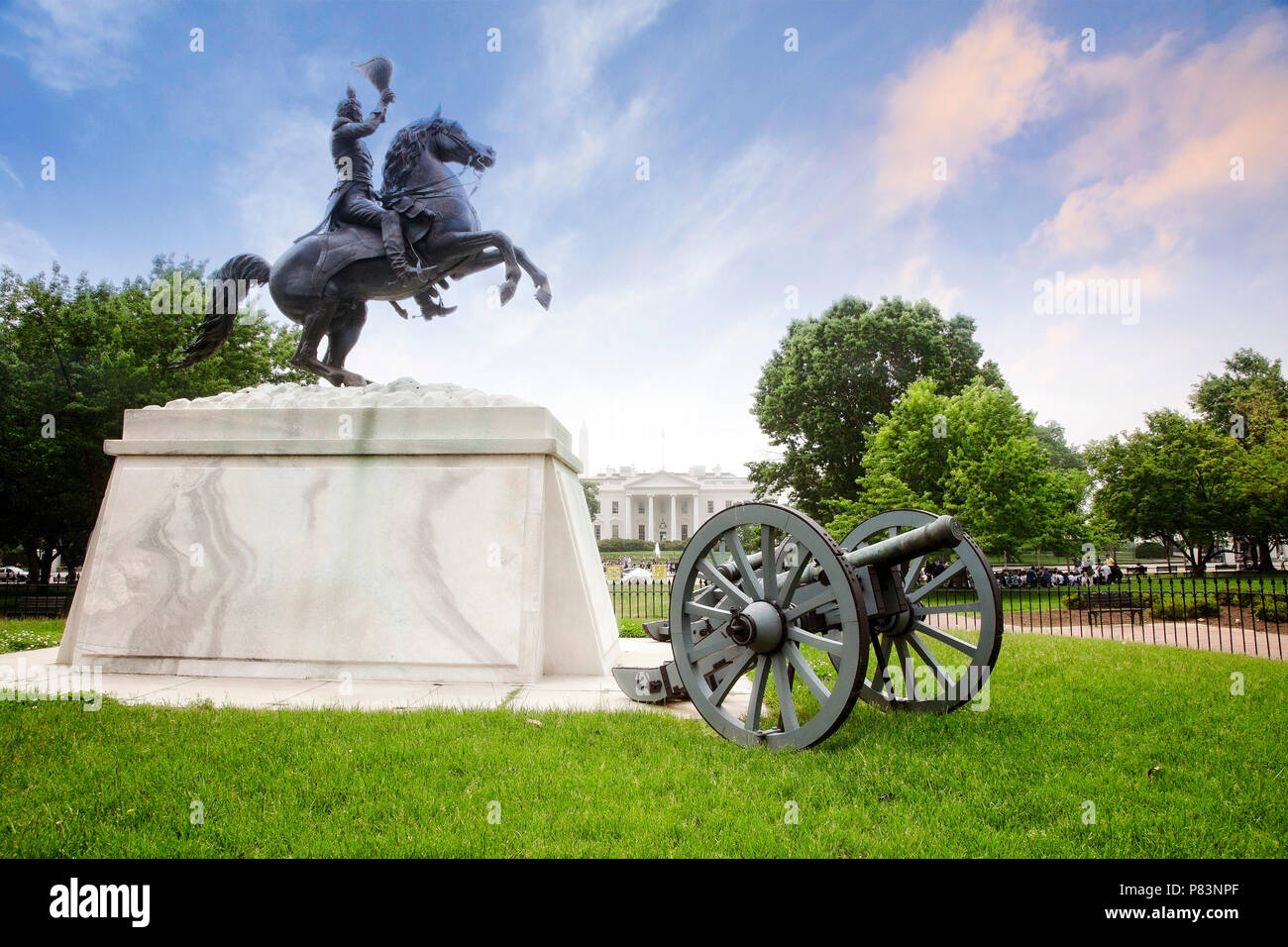 The statue of Andrew Jackson in Lafayette Square or Presidents Park north of the White House in Washington, DC. - Stock Image