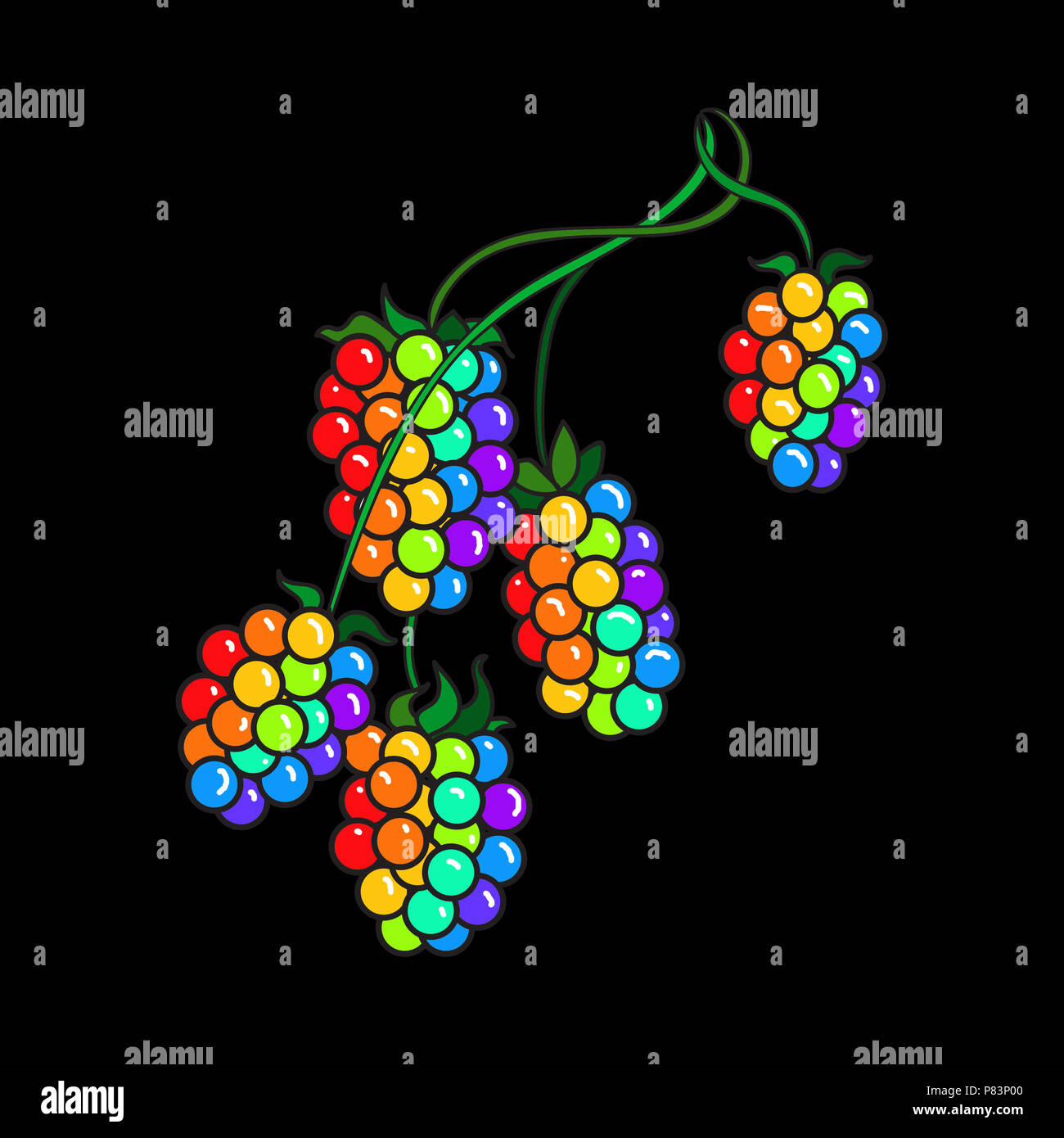 Illustration of raspberries on the stem in rainbow colors against a black background. - Stock Image