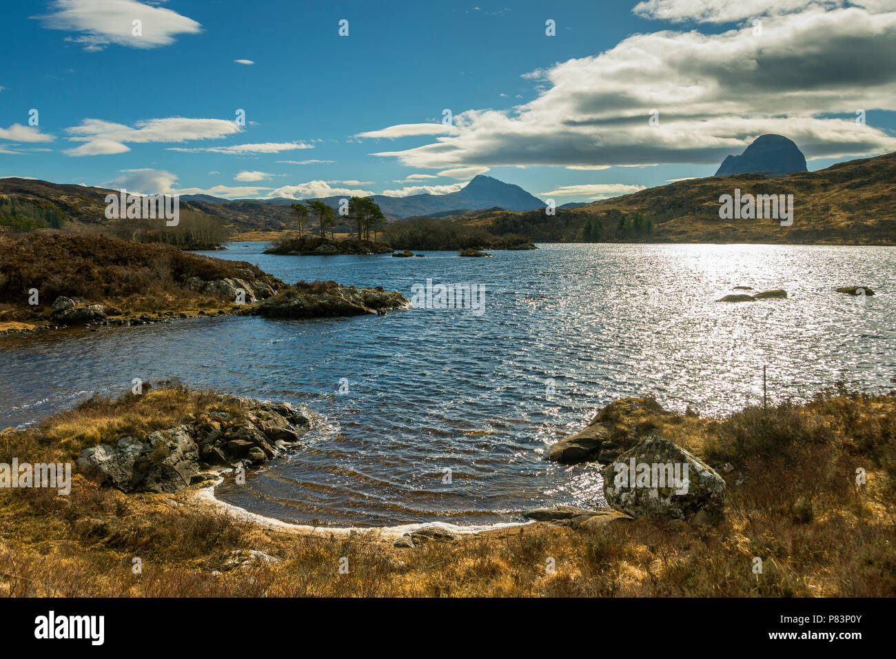 Canisp and Suilven from Loch Druim Suardalain, Glen Canisp Forest, near Lochinver, Coigach, Sutherland, Highland Region, Scotland, UK Stock Photo