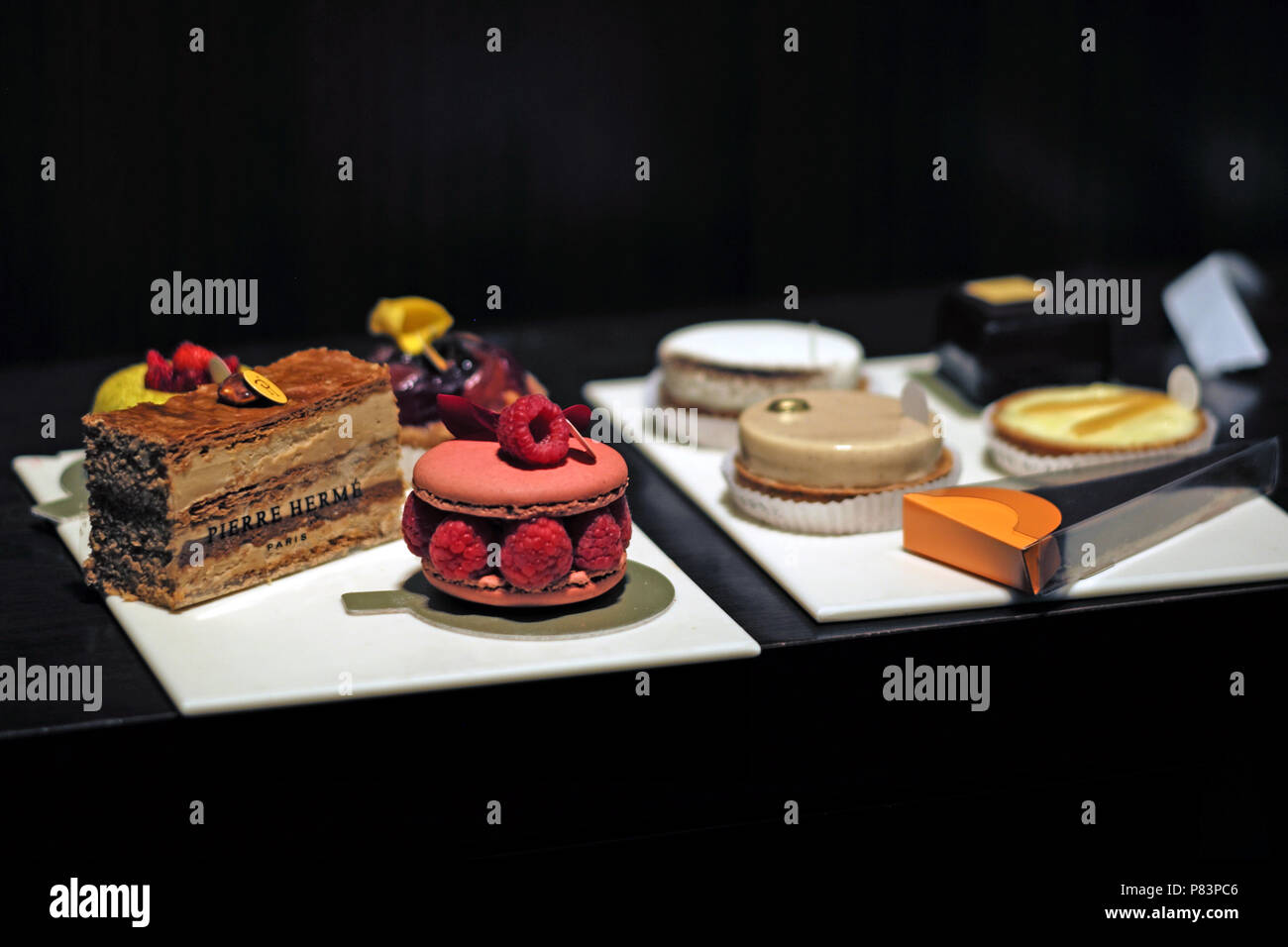 Variety of fresh fruit cakes and desserts, Paris, France, Europe - Stock Image