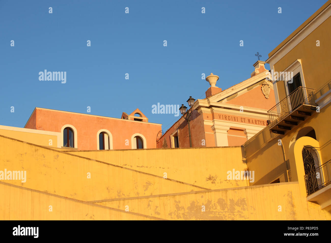 Exterior stone stairway leading to village, Ventotene, Italy, Europe - Stock Image